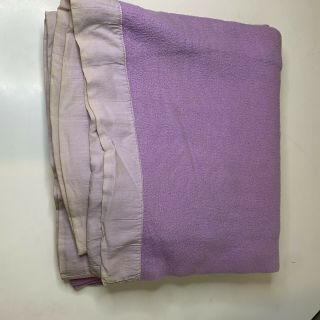 Vintage Acrylic Thermal Blanket Bedding Nylon Satin Trim Color Purple Marks See