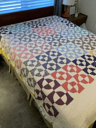 "Vintage Hand - Made Cotton Quilt,  Running In Circles,  Scallop Border,  78"" X 75"""