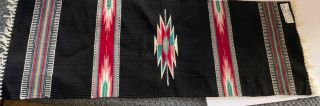 "Chimayo Nm Wool Runner Rug 15x44"" Black W Southwestern Designs"