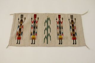 O - Vintage Navajo Rug Weaving 4 Yei Figures Cornstalk Red Brown Green