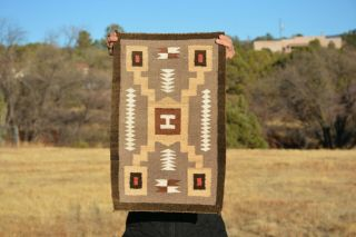 "Small Navajo Indian Storm Pattern Rug - Handspun Vegetal Dye Wools 24 "" X 15.  5 """