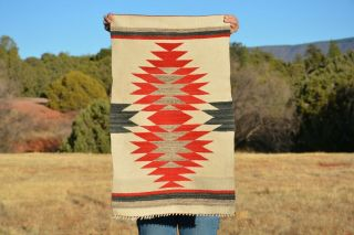 "Old Navajo Rug - White Red Black Grey - 33.  5 "" X 20 """