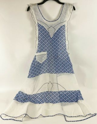 Ruffled Bib Apron Sheer Plaid Cotton 1950s Early Vintage Red White Blue
