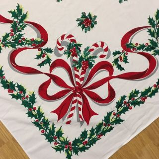 "Vintage Christmas Tablecloth Candy Canes Holly Red Green 50 "" X 60 """