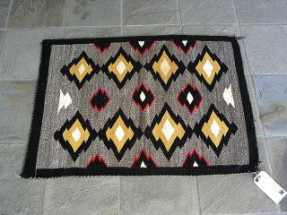 Old Navajo Hand Woven Rug W Richardson Trading Co Tag Certificate Of Genuineness