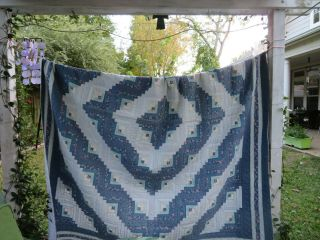 "Collectibles Vintage Quilt Hand Made Queen 96 X 82 "" - Blue Panels"