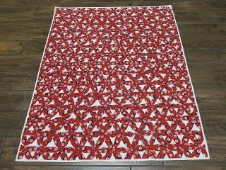 "Vintage Handmade Christmas Quilt Red Star Snowman Small Blanket 42 "" X 50 """