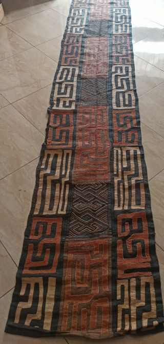 """African Kuba Cloth Raffia /textile From Congo 162 """" By 28.  8 """""""