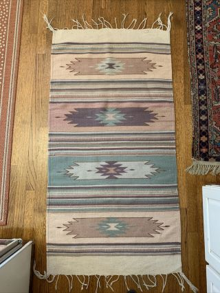 """Zapotec Oaxacan Handwoven Pure Wool Authentic Mexican Tapestry Area Rug 30 X 64"""""""
