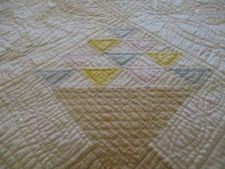 Vintage Handmade Quilt 82 X 88 Basket Pattern Very Old 60 Years Back Replaced