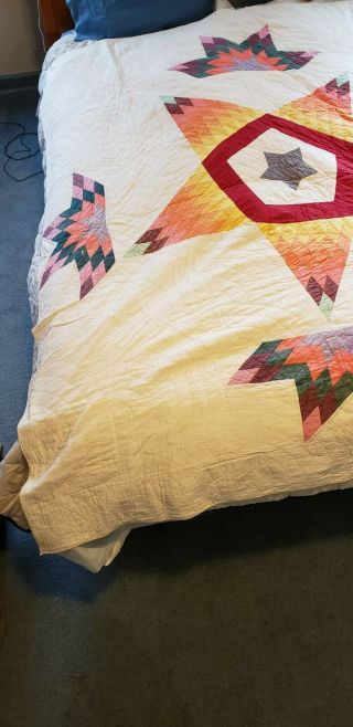 """Vintage Hand Made Quilt 78 """" X 66 """" Exploding Star Pattern"""