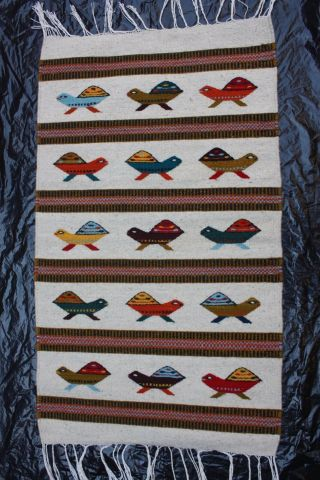 Mexican Textile Rug Ethnic Native Art Craft Woven Yarn Turtle Wallhanging Carpet