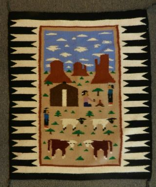 Colorful Handwoven Wool Navaj0 Pictorial Rug Wall Hanging Daily Village Life