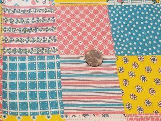 Vintage Full Feedsack: Patchwork Cheater Quilt Pattern In Pastels