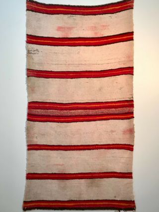 Historic Navajo Double Saddle Blanket,  Colorful Classic Banded Design,  C1890,  Nr