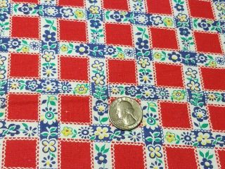 Vintage Full Feedsack: Red Squares With Blue And Yellow Flowers