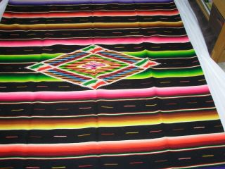 Mexican Saltillo Blanket Large Wool 92 X 51 Vibrant Colors
