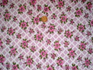 Floral Vtg Feedsack Quilt Sewing Doll Clothes Craft Fabric Pink Green Lilac