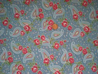 Floral Paisley Vtg Feedsack Quilt Sewing Doll Clothes Craft Fabric Blueredgreen