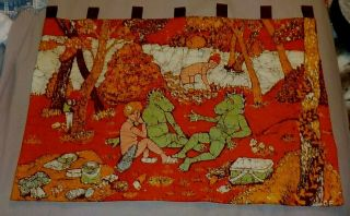 Abstract Batik Fabric Art Wall Hanging Serpent Ladies Mid Century Retro Quilted