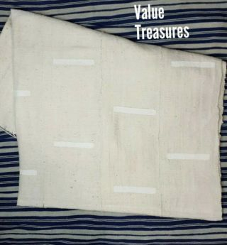"""Authentic African Mud Cloth Fabric Mali Approx 45""""x63"""" White/white Mudcloth"""