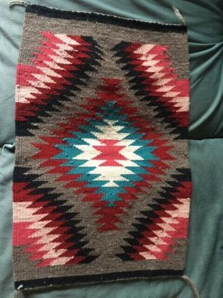 """Navajo Rug 21.  6 """" X 15 """" Unknown Weaver Small Rug."""