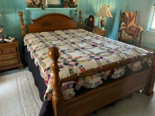 Vintage Double Wedding Ring Quilt Top 50