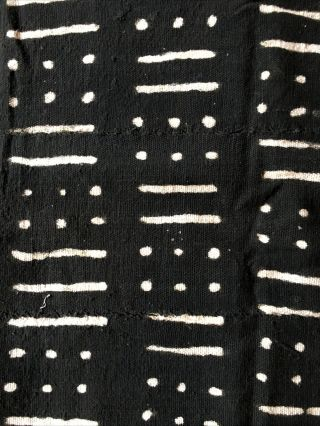 """Authentic African Handwoven Black And White Mud Cloth Fabric 58"""" By 39"""""""