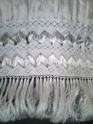 """Hand Loomed Mexican Silk Blend Long Rebozo Shawl Silvery White 82 """" X 45 """""""