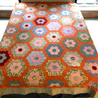 Outstanding Vintage Hand Pieced Feed Sack & Shirting Flower Garden Quilt Top