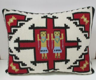 Navajo Weaving Textile Pillow With Figures