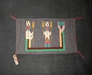 Old Vintage Navajo Indian 2 Faced Yei Rug Tagged & Artist Signed
