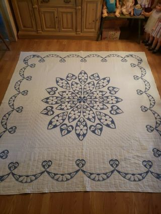Vintage Cross Stitch Quilt 96 X 92 / Hand Made Swags,  Flowers White Blue