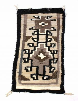 "Vintage Navajo Rug Relaxed Weave W/ Earth Tones Brown,  Grey White 44 "" X 25 """
