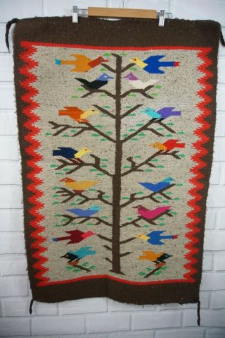 Vintage Mexican Handwoven Rug Hanging Bird Tree Of Life Colorful Brown Wool