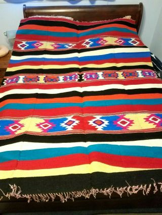 Mexican Hand Woven Wool Blanket Rug Tapestry 88 X 64 Desert Multi Color 60