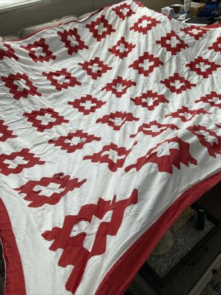 "Vintage Hand Stitched Quilt Red And White Cotton 79"" X 95"" 9 - 29"