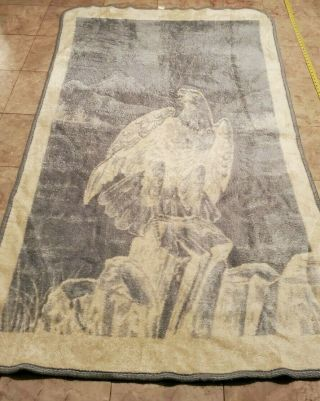 "San Marcos Eagle Blanket 46 "" X 78 "" Reversible Gray And Cream Color Vintage"
