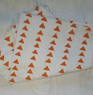 "Authentic African Mud Cloth Fabric Mali Approx 45""x63"" White/orange Triangle"