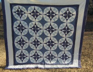 "Vintage Hand Made Hand Quilted Quilt 80 "" X 80 "" Blue & White"