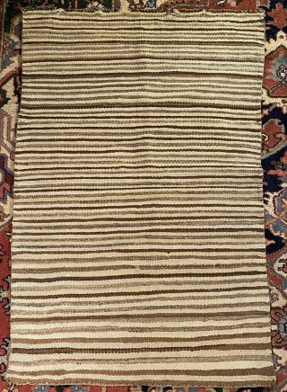 Mexican Handwoven Striped Wool Sarape Rug 1940's