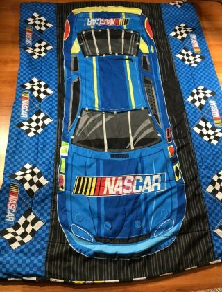 Vintage Nascar Blue Twin Blanket With Flags