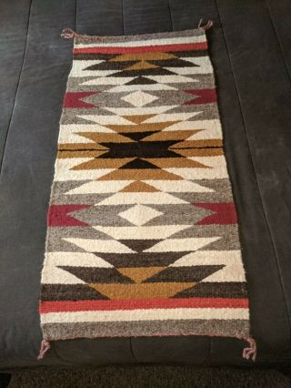 Vintage Navajo Indian Traditional Designs Woven Rug Bold Colors