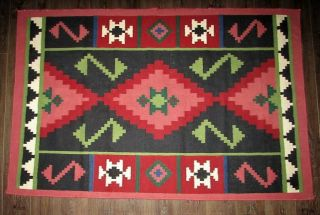 Vintage 73x48 Southwestern Aztec Navajo Native American Indian Pattern Area Rug