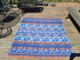 Beacon Style Camp Blanket With Indians And Bison On It