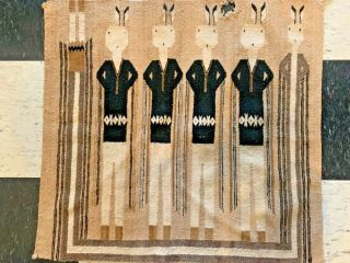 Navajo Vintage Yei Be Chei Pictorial Rug - Hand Woven Wool - C1940s Nr