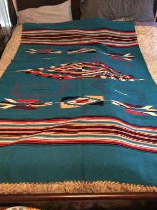Vintage Mexican Indian Design Woven Rug Blanket - Bright Colors