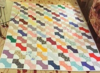 "1900s Vintage Handmade Bow Tie Quilt - Fits Queen Bed - 72 X 86 "" L - Texas"