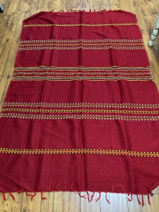 """Vintage - Native Southwest Woven Wool Blanket - Red 60 """" X90 """""""