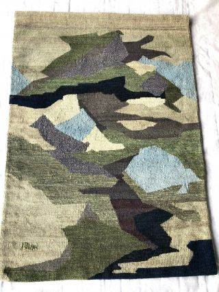"""1979 Hand Woven Loomed Wool Wall Hanging 46 """" X 48 """" Lg So Holland Netherlands"""